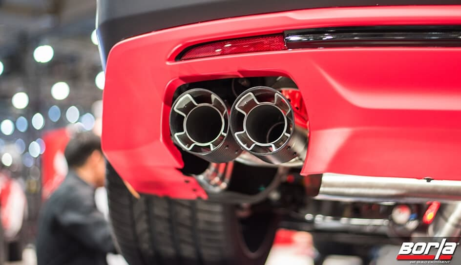 Close up of Borla tail pipe and exhaust