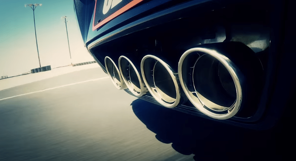 Exhaust system on a sports racing car