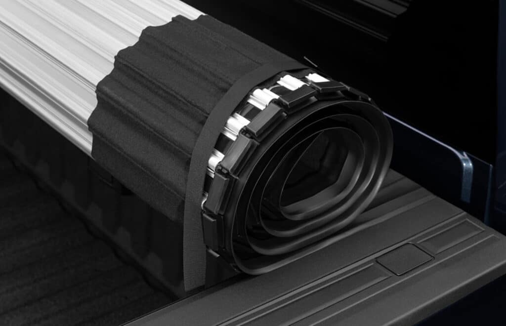 Image of a hard rolling tonneau cover rolled up