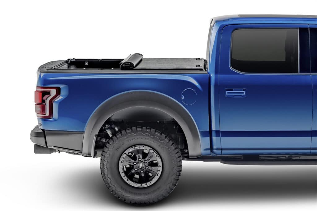 Image of a soft rolling tonneau cover partially rolled up