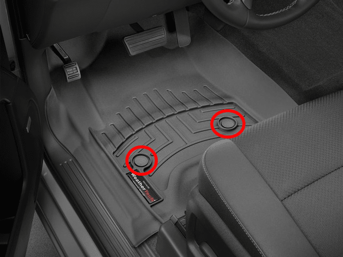 WeatherTech floor mats with retention devices highlighted