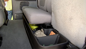 Husky storage box installed in a truck