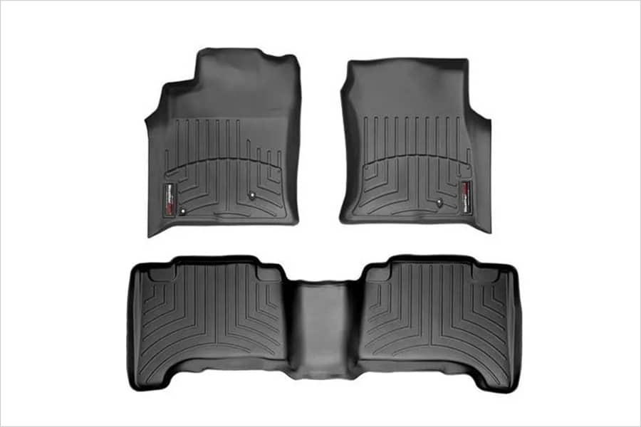 a set of weather tech front liners and rear liners with soft-touch feel, trunk liner