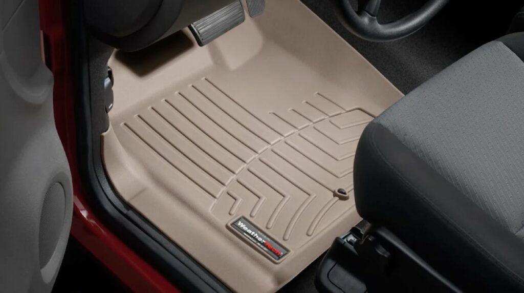 Tan WeatherTech digitalfit liner installed in a vehicle