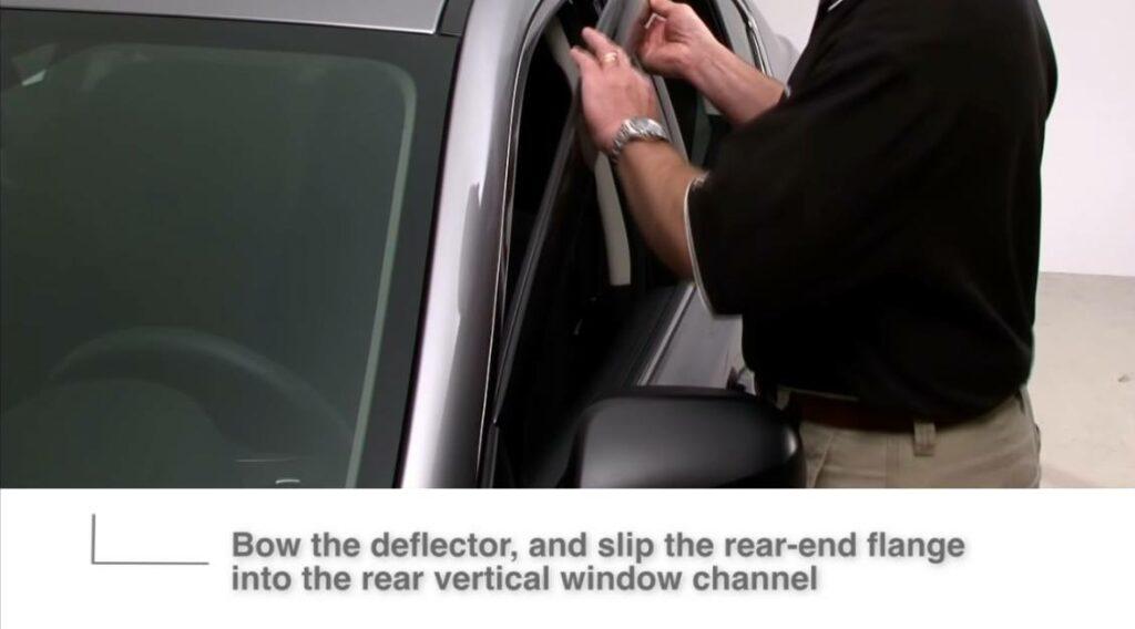 Installing window visors, rear flange