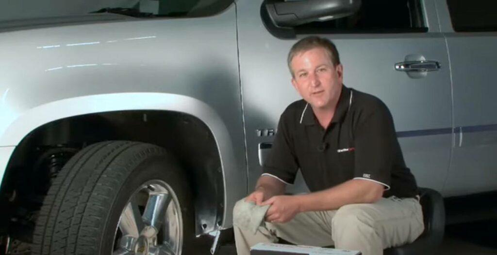 WeatherTech mudflap installed on car