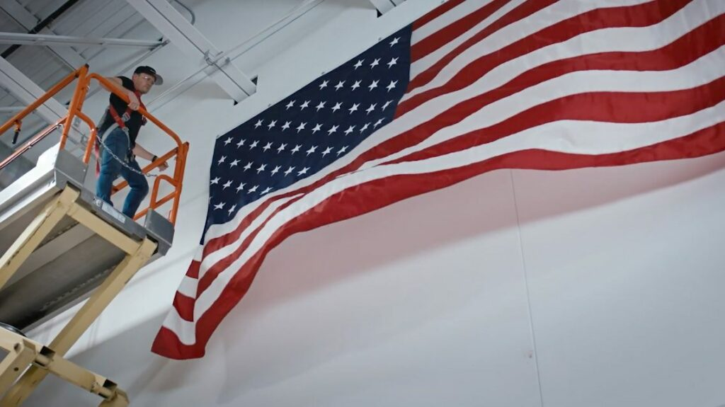 Made in the USA, hanging a flag