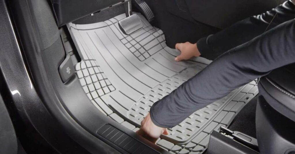 a single mat on the driver's side footwell area of a car