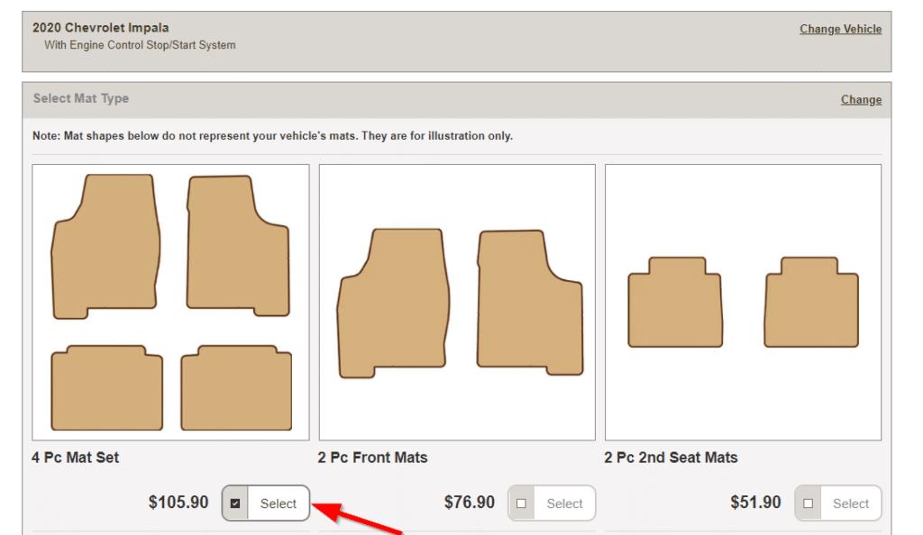 Car mat shapes