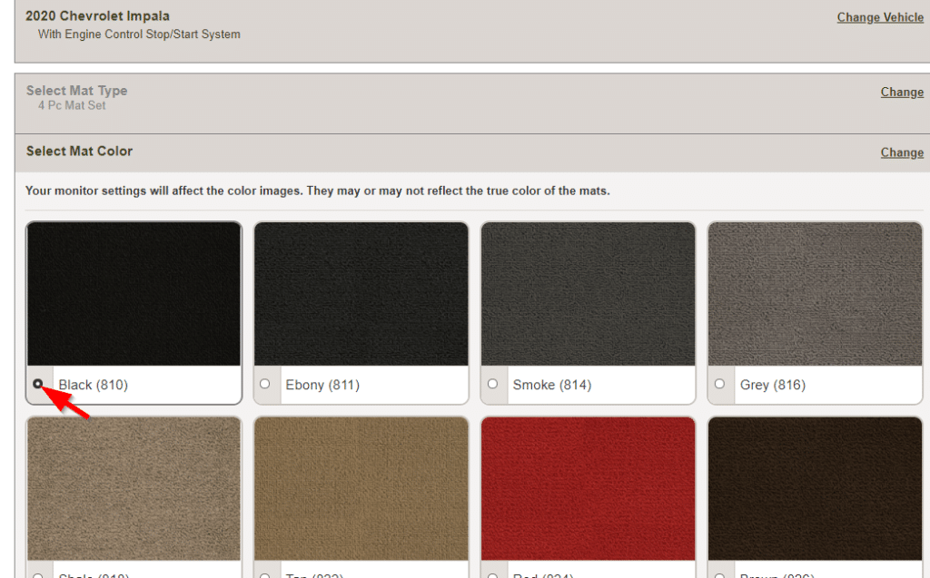 A variety of mat colors