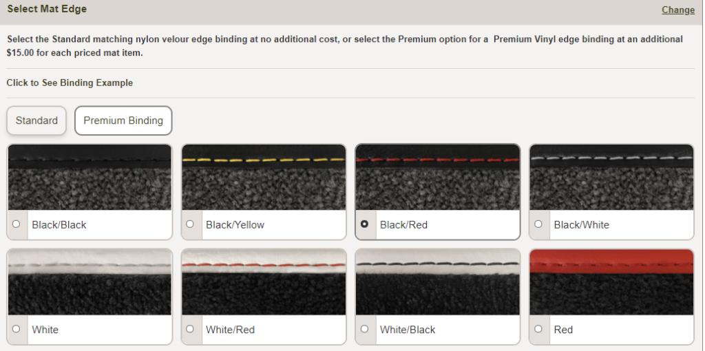 Premium binding color options