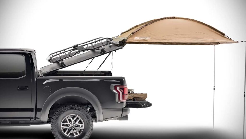 RidgeLander with a tent installed with the tonneau cover