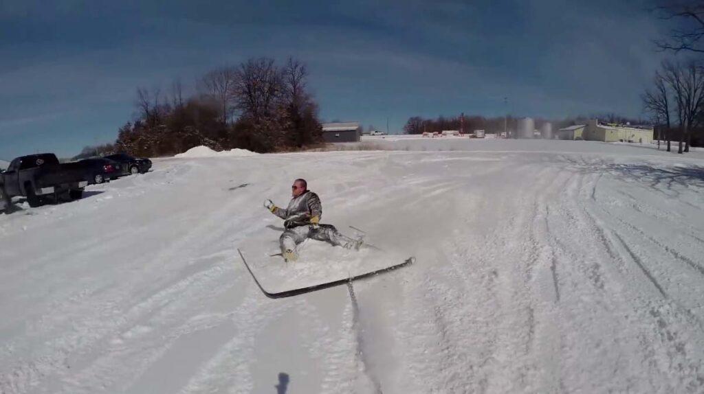 Sledding on a tonneau cover