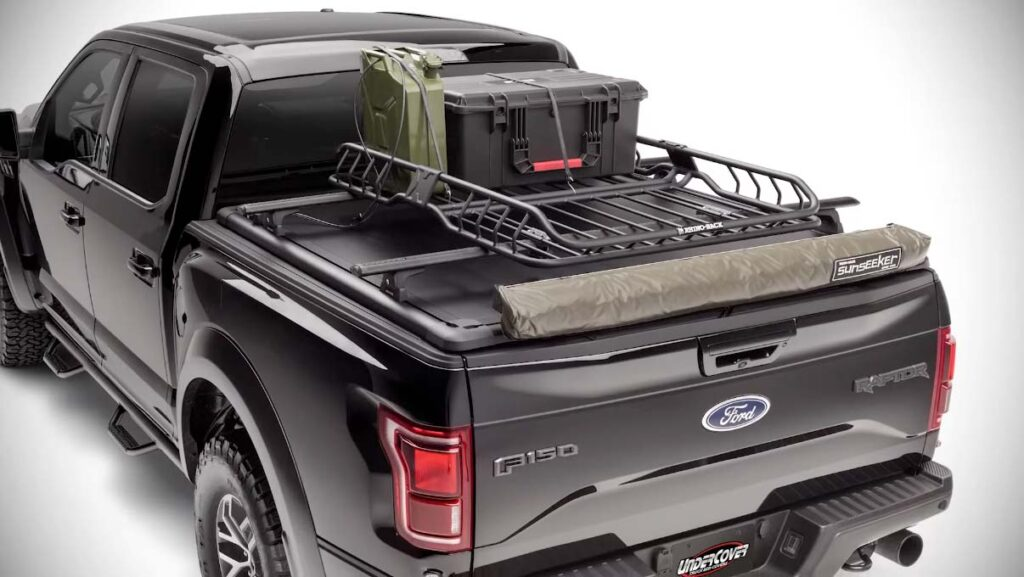 Rack accessories and cooler installed on top of the RidgeLander