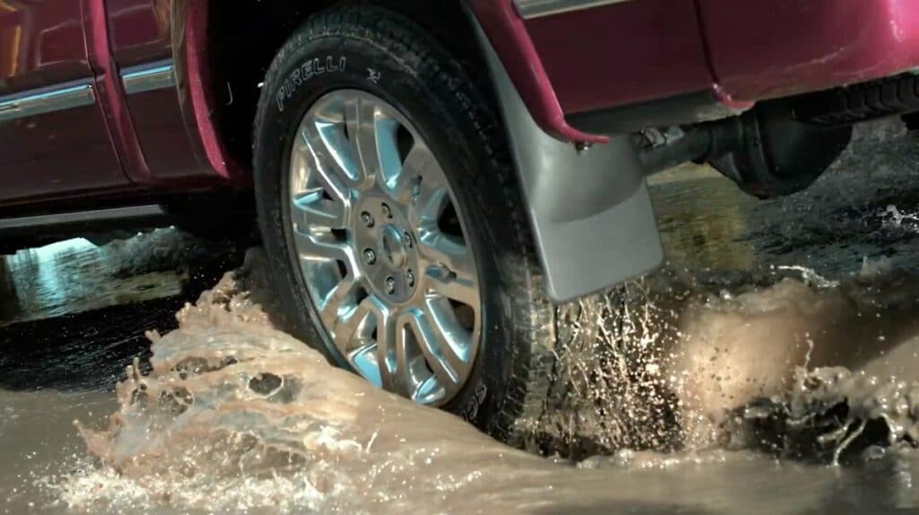 WeatherTech no-drill mud flaps; a mud flap offers vehicle protection from mud and debris