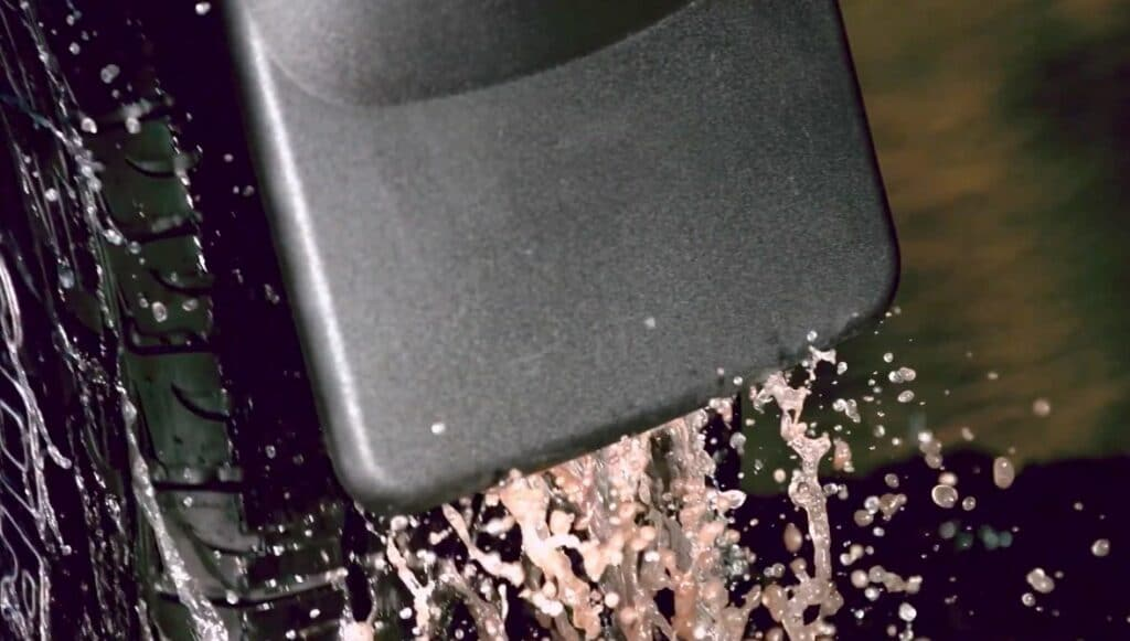 WeatherTech no-drill mud flaps - install on existing vehicle mounting locations of a truck