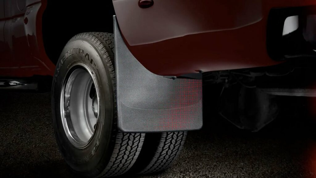 laser measuring creates a perfect fit for a truck's front and rear pair of mud flaps